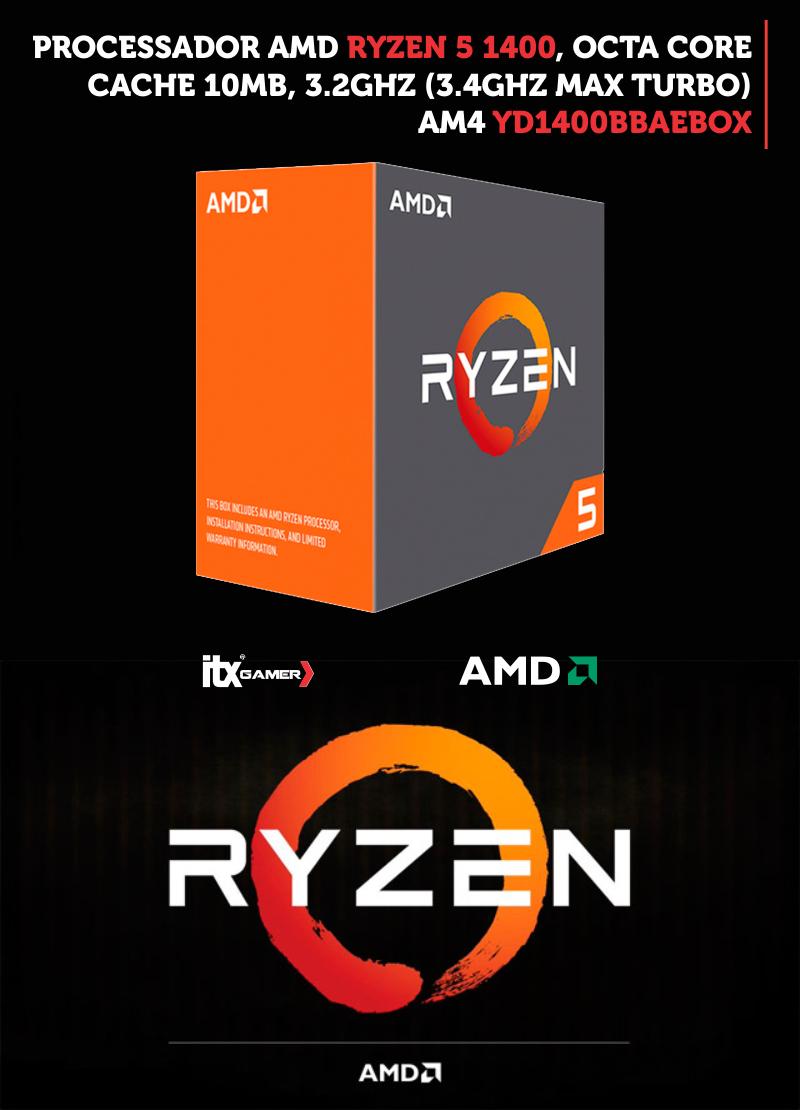 Processador AMD Ryzen 5 1400, Quatro Núcleos, Cache 10MB